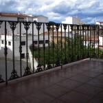 Balcón de hierro con decoración de fundición