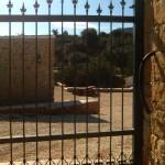 Detall de porta de parcel·la corredissa de ferro amb decoració